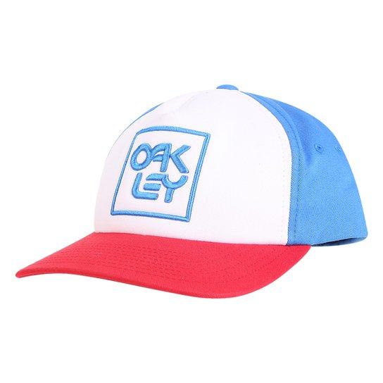 Boné Oakley Aba Reta Mod Snapback Logo Masculino - Azul e Vermelho ... 6c23b23cf67