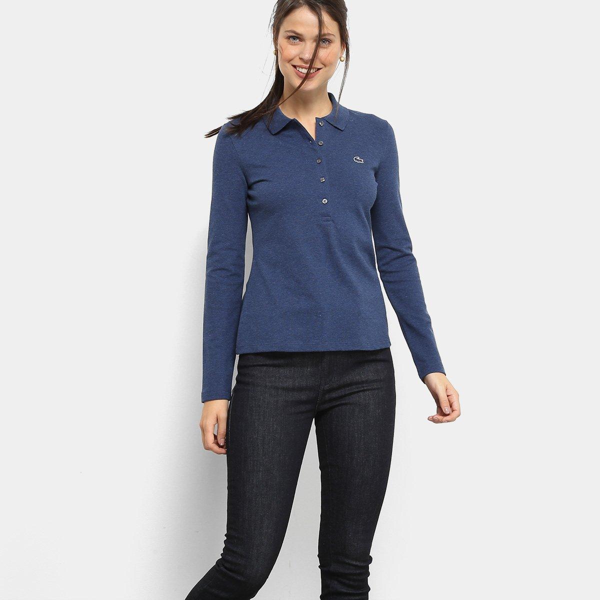 241a0f5fa5311 Camisa Polo Lacoste Manga Longa Botões Feminina