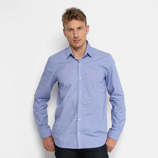Camisa Xadrez Lacoste Slim Fit Popelina Príncipe de Gales Masculina - Azul f51f400bee