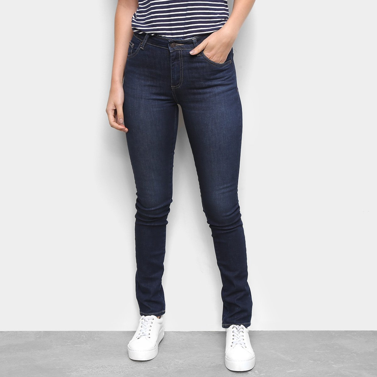 Calça Jeans Lacoste Skinny Escura Feminina