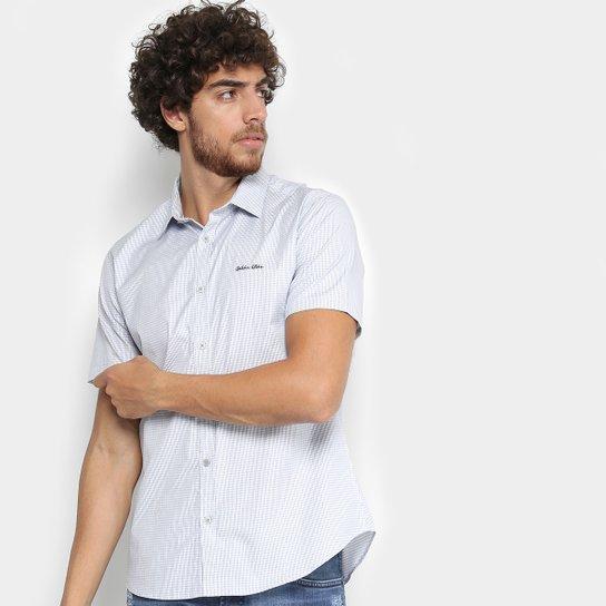 1d7a295ef74be3 Camisa Manga Curta Calvin Klein Slim Monte Carlo Vista Masculina - Azul+ Branco