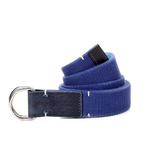 Cinto Calvin Klein Lona Ponteira Couro Masculino - Azul - Compre ... 81a1c3803d