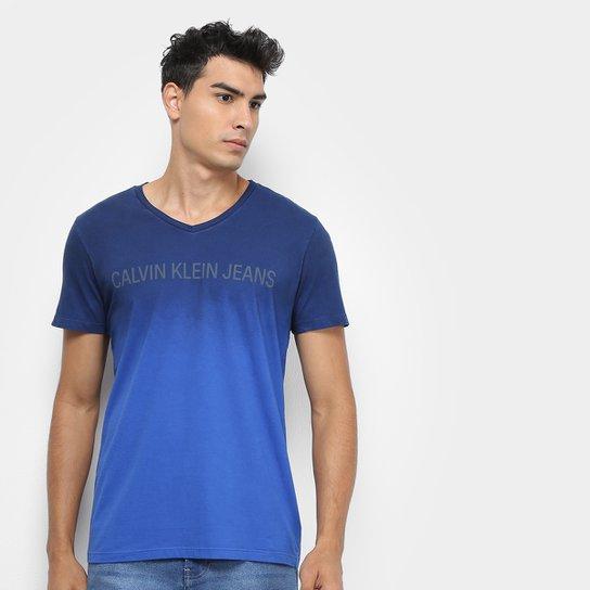 18b65685b4ae81 Camiseta Calvin Klein Degradê Masculina - Azul