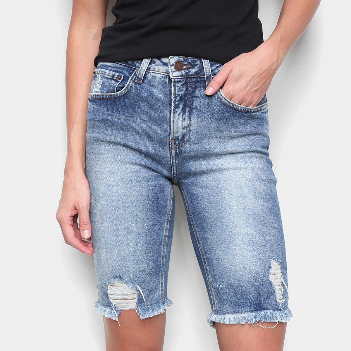 Bermuda Jeans Calvin Klein Five Pockets Ciclista Feminina