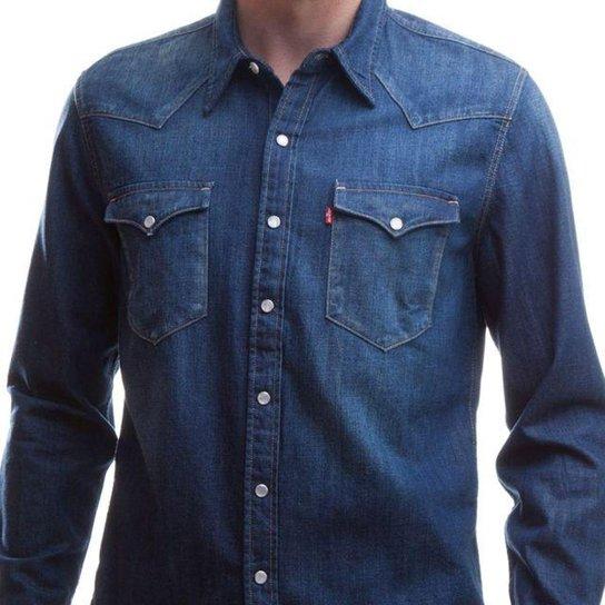 cacd5ab390 Camisa Jeans Levis Barstow Western Lavagem Média Masculina - Azul