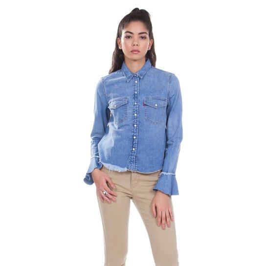 2b3afcc14e988 Camisa Jeans Levis Celia Ruffle Média Feminina - Compre Agora