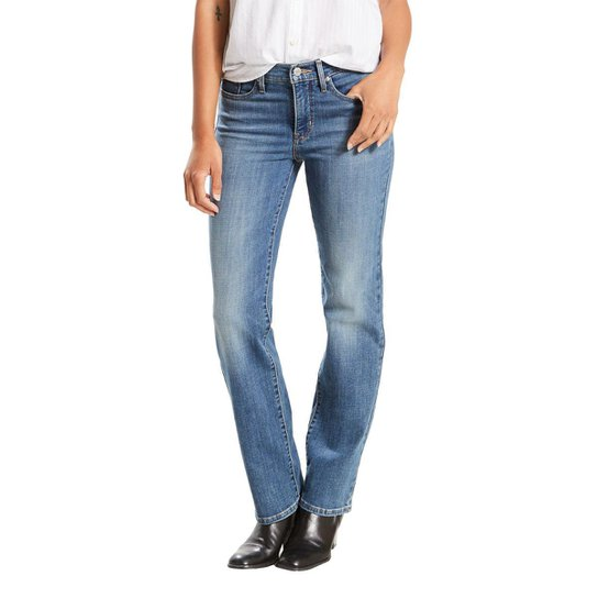 e5a1363ad Calça Jeans Levis Shaping Straight Feminina - Azul - Compre Agora ...