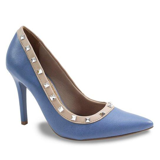 7ca4928c1d Sapato Scarpin Feminino com Spikes Via Marte - Azul