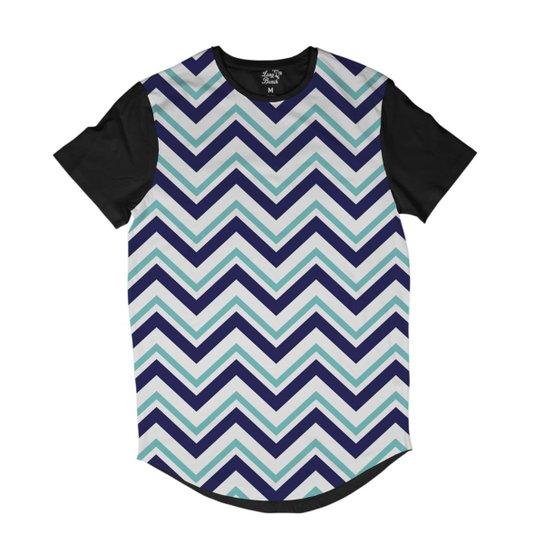 Camiseta Longline Long Beach Náutica Listras Pontudas Sublimada Masculina -  Azul 5b7ea0cbab7