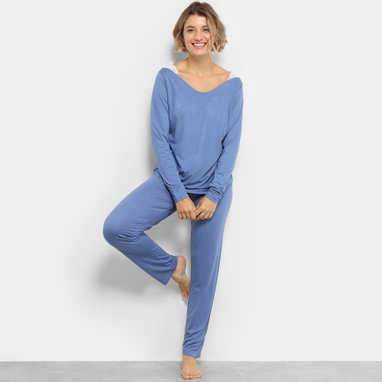 05c122fd060d81 Pijama Camiseta com Renda Manga Longa + Calça Lupo Feminino - Azul