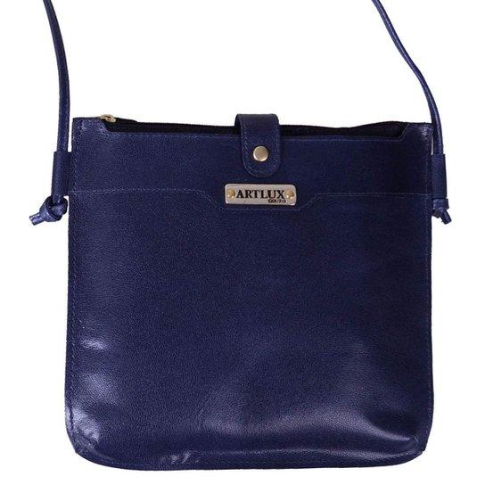 3b5f40cd8 Bolsa Transversal de Couro - Azul   Zattini
