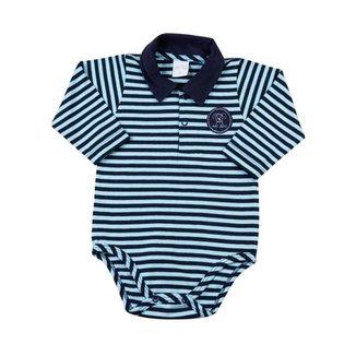 Body Bebê Gola Cotton Listrado Cachorrinho 1c811586df9ca