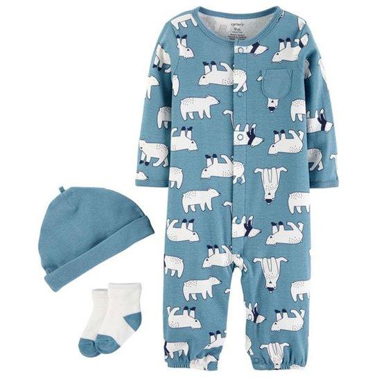 488fa7688933b Kit Macacão Bebê Carter S Gorro E Meia Urso Polar Masculino - Compre ...