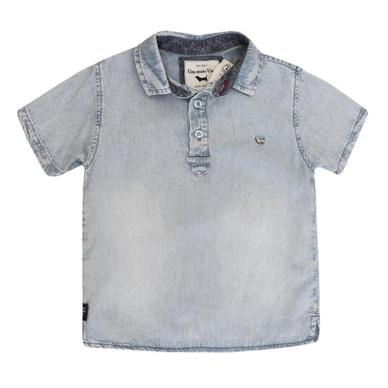 cf7efd6d04 Camisa Bata Infantil 1mais1 Jeans Masculina - Azul - Compre Agora ...