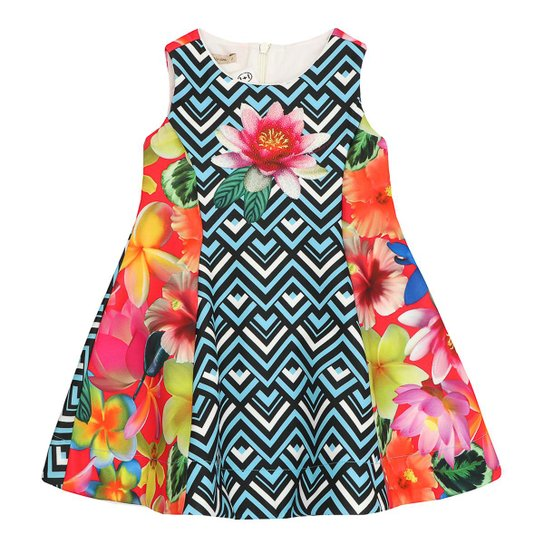 e3fe46cb0 Vestido Infantil Neoprene Estampado 1mais1 - Azul   Zattini