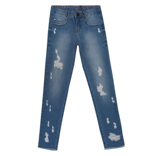 62c00c1bb355cc Calça Infantil Detonada Jeans Skinny Authoria Feminina - Azul