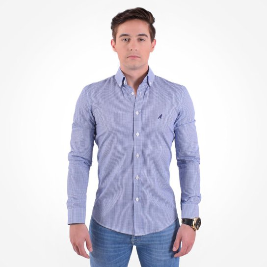 7d16de93c8 Camisa Social Masculina Slim Xadrez - Azul - Compre Agora