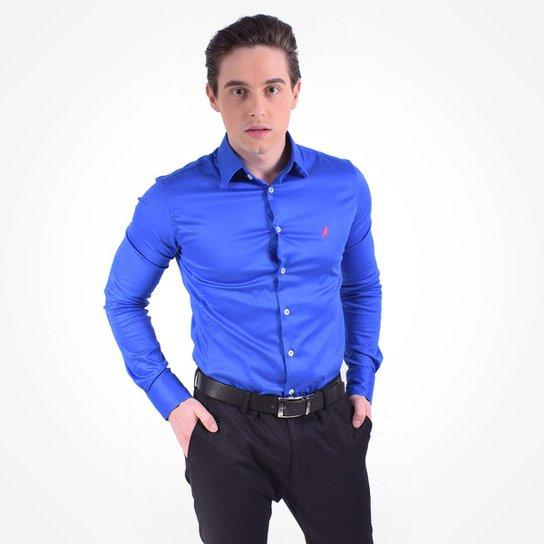 Camisa Social Masculina - Super Slim - Azul - Compre Agora  155c9931a3d38