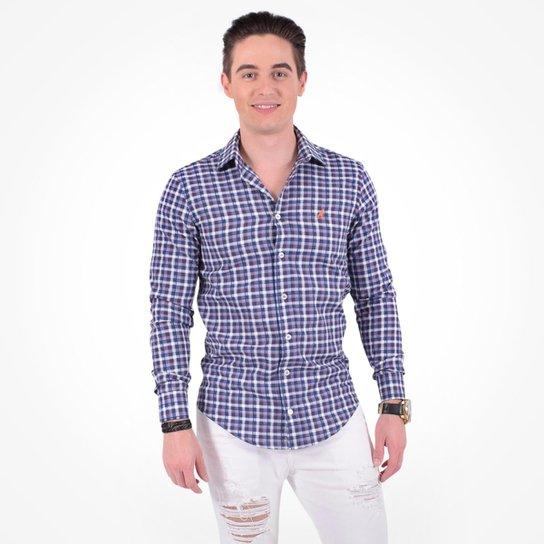 fc9fda1d87 Camisa Xadrez Masculina Slim Social Estampada - Azul - Compre Agora ...
