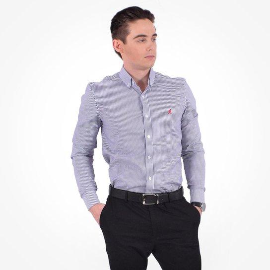 Camisa Social Listrada Masculina - Slim - Compre Agora  5765d02e3994c