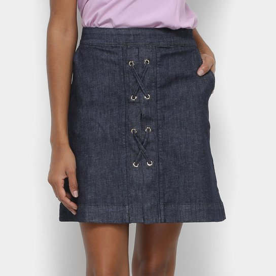 0ff911674 Saia Jeans Maria Filó Curta Reta Cordão - Compre Agora