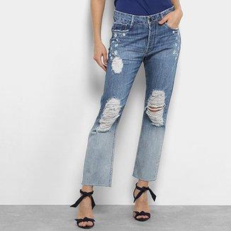 b6e816623 Calça Jeans Fit Maria Filó Destroyed com Bordado Feminina