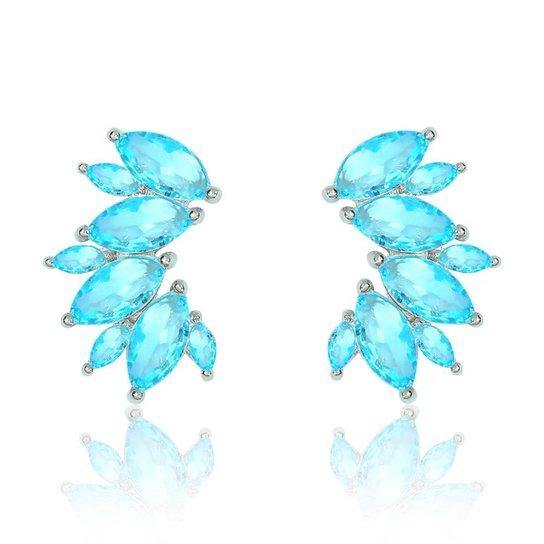 96306ed37e22c Brinco Piuka Ear Cuff Navetes Zircônia Blue Semijoia Em Ródio - Azul ...