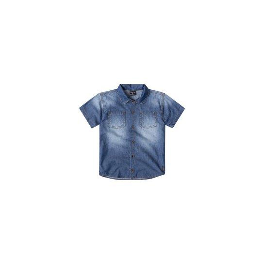 ed48834669 Camisa Jeans Bebê Quimby Masculina - Azul - Compre Agora