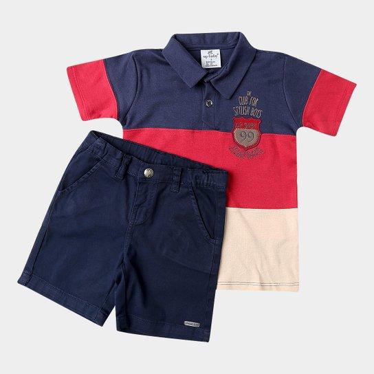 93e0a1b138 Conjunto Infantil Up Baby Suedine e Sarja Masculino - Azul - Compre ...