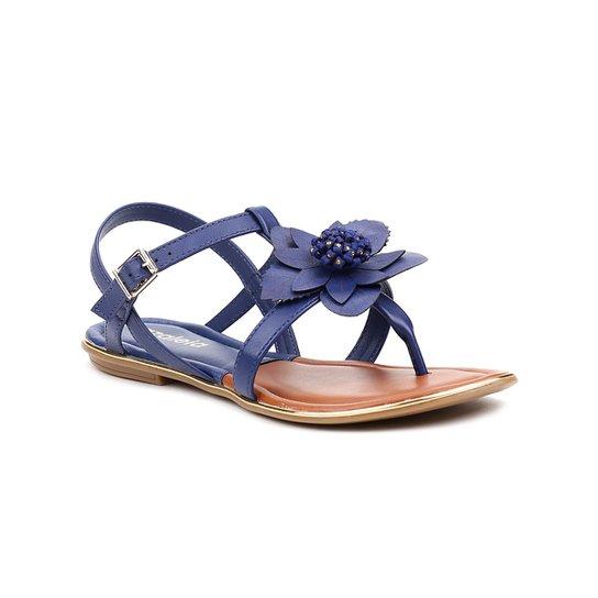 61eafef9b Sandália Rasteira Feminina Azaléia Azul marinho | Zattini