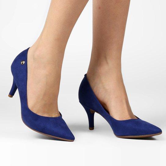 b81d4be2a Scarpin Vizzano Salto Médio Bico Fino - Azul - Compre Agora