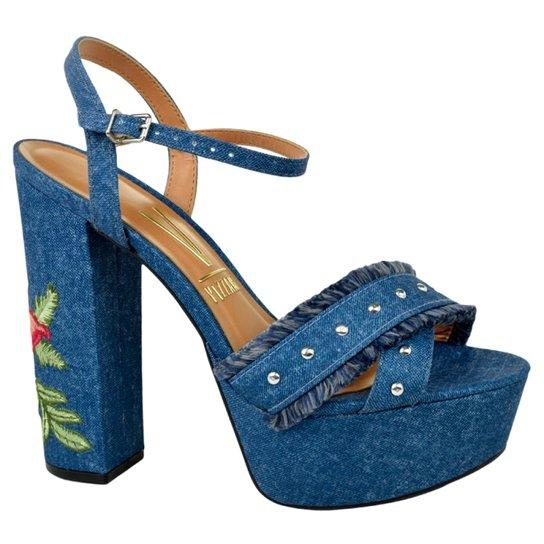 73defa9655 Sandália Feminina Plataforma Jeans Vizzano - Compre Agora
