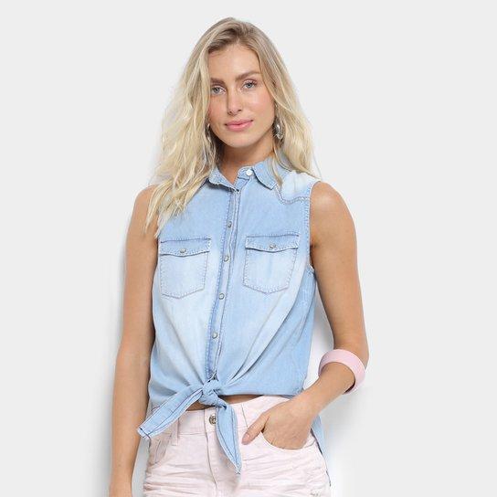 7861044f57 Camisa Jeans Triton Regata sem Manga Feminina - Azul