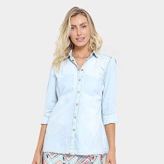 b1cb5f6a16 Camisa Jeans Triton Bordada Feminina