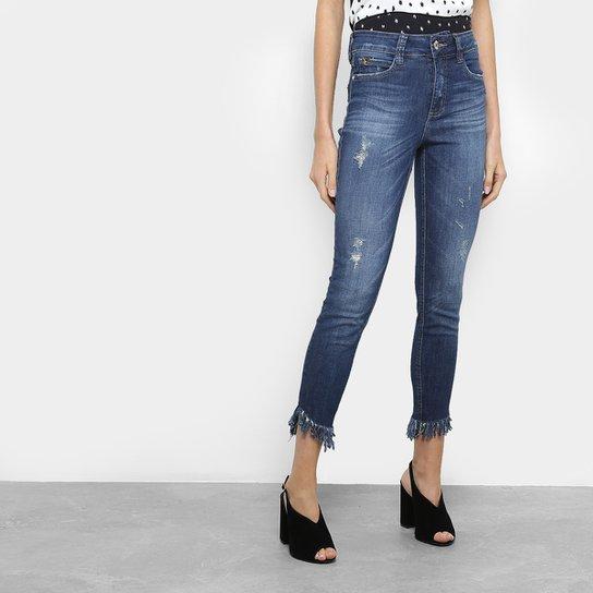 4b9a0a14b Calça Jeans Cigarrte Colcci Bia Barra Desfiada Puídos Cintura Média Feminina  - Azul
