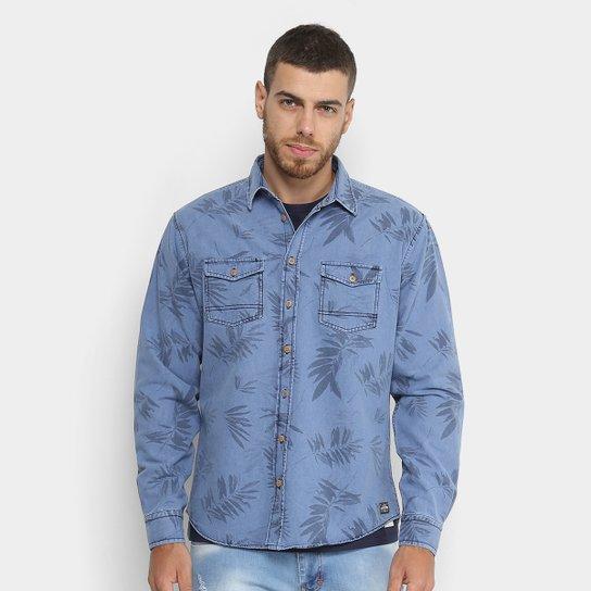 7c2a42d2d Camisa Jeans Colcci Slim Estampada Masculina - Azul e Preto   Zattini