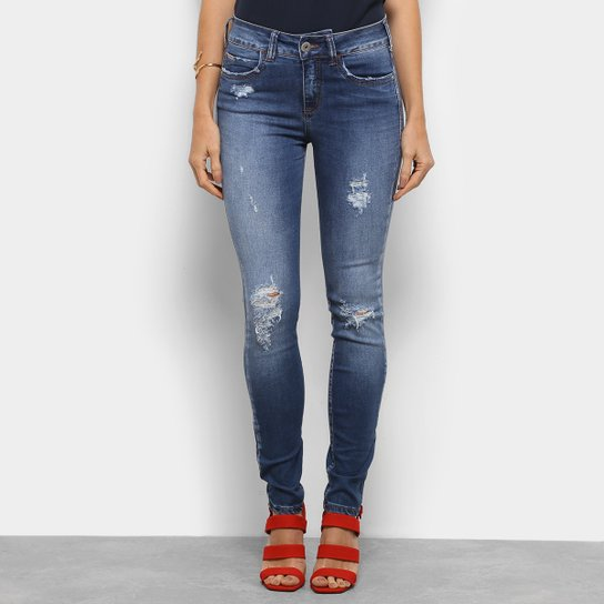 fb8fc76a1 Calça Jeans Skinny Destroyed Colcci Cintura Média Feminina - Azul ...