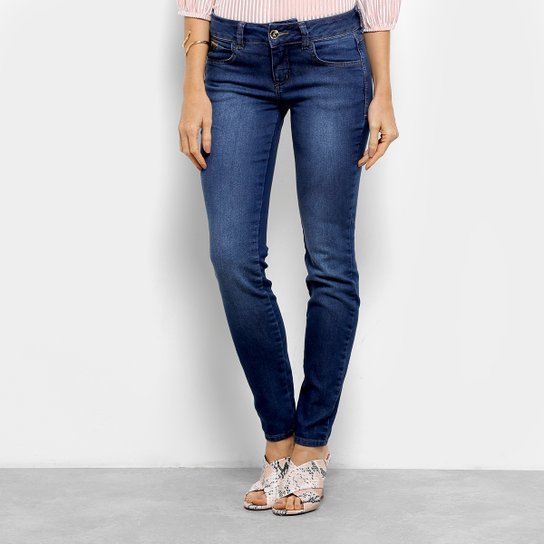 959ad6ab4 Calça Jeans Skinny Colcci Estonada Cintura Baixa Feminina - Azul ...