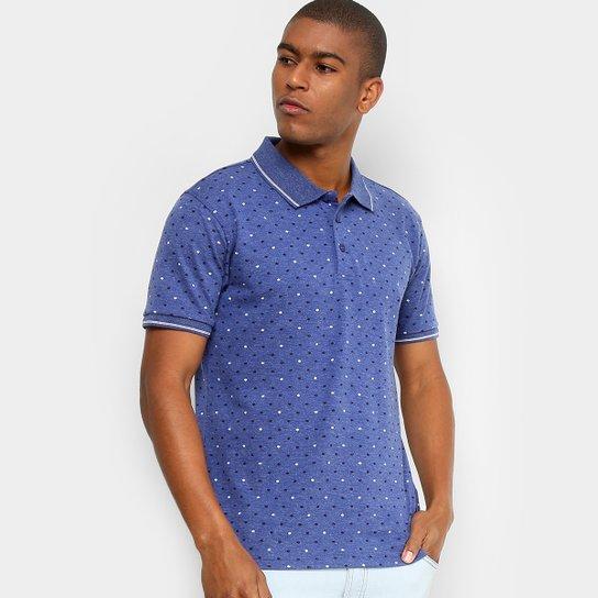 Camisa Polo Broken Rules Piquet Mini Estampa Escamas Masculina - Azul 43107bbb1048e