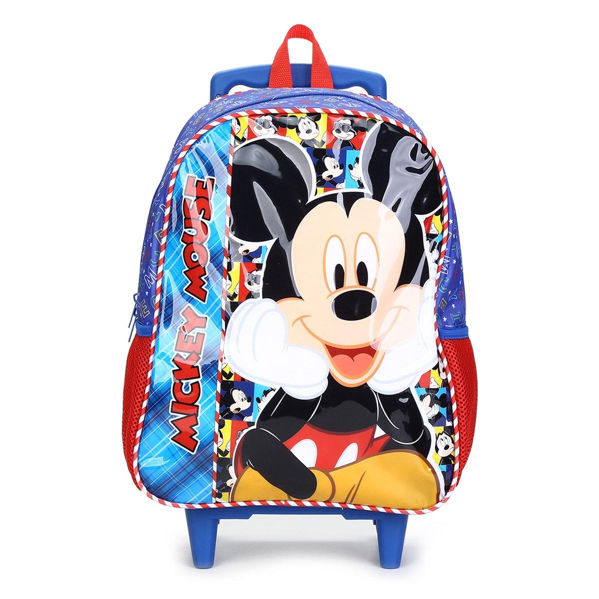 Mochila Escolar Infantil Pacicf  Mickey Disney Selfie Com Rodinhas