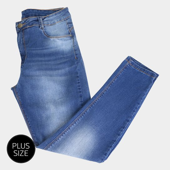 ada1be736a Calça Jeans Cigarrete Sawary Estonada Cintura Alta Plus Size Feminina - Azul