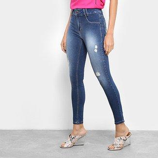 75219df68 Calça Jeans Skinny Sawary Estonada Rasgos Cintura Média Feminina