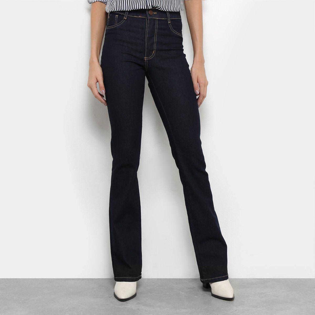 47ae6c1e7 Calça Jeans Flare Sawary Lavagem Escura Cintura Média Feminina