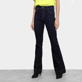 6e67a4505 Calça Jeans Flare Sawary Lavagem Escura Cintura Alta Feminina