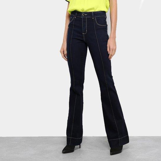 30000e157 Calça Jeans Flare Sawary Lavagem Escura Cintura Alta Feminina - Azul ...