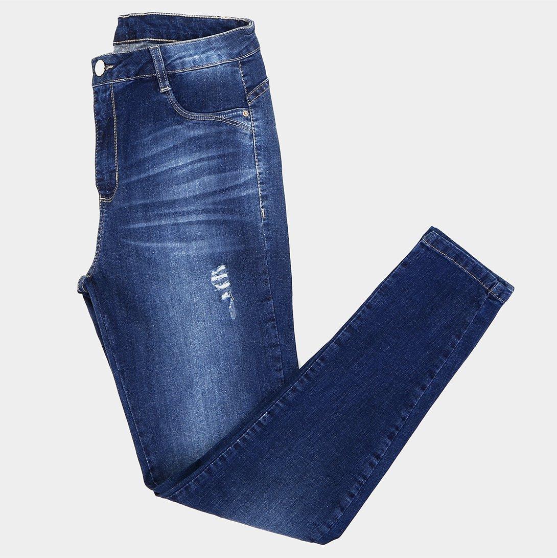 c49629978 Calça Jeans Cigarrete Sawary Puídos Estonada Cintura Média Feminina