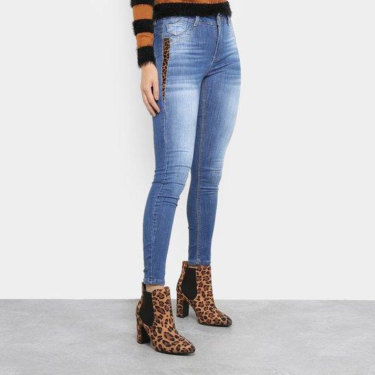 17b603d8d Calça Jeans Skinny Sawary Estonada Animal Print Cintura Alta Feminina - Azul