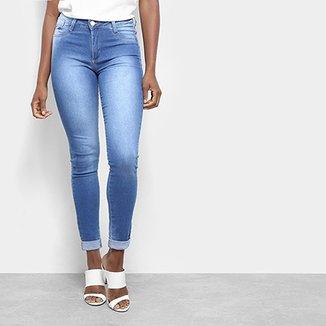 cc1567f81 Calça Jeans Cigarrete Push Up Sawary Barra Dobrada Feminina