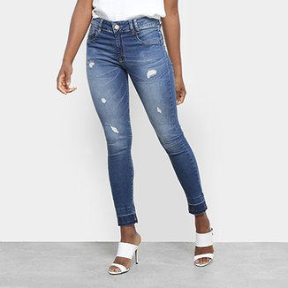 a06c829355 Calça Jeans Cigarrete Sawary Cintura Média Feminina