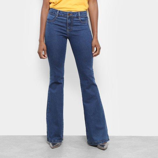 999af3be7 Calça Jeans Flare Sawary Estonada Cintura Alta Feminina - Azul | Zattini
